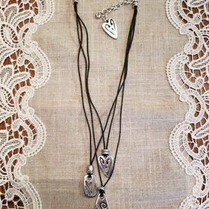 Brighton 3 pendant silver black necklace